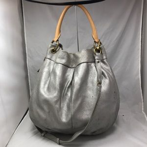 J CREW Silver Metallic Extra Large Hobo Crossbody